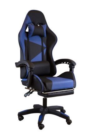 Scaun gaming, suport picioare, funcție recliner, SIG838 Albastru/Negru