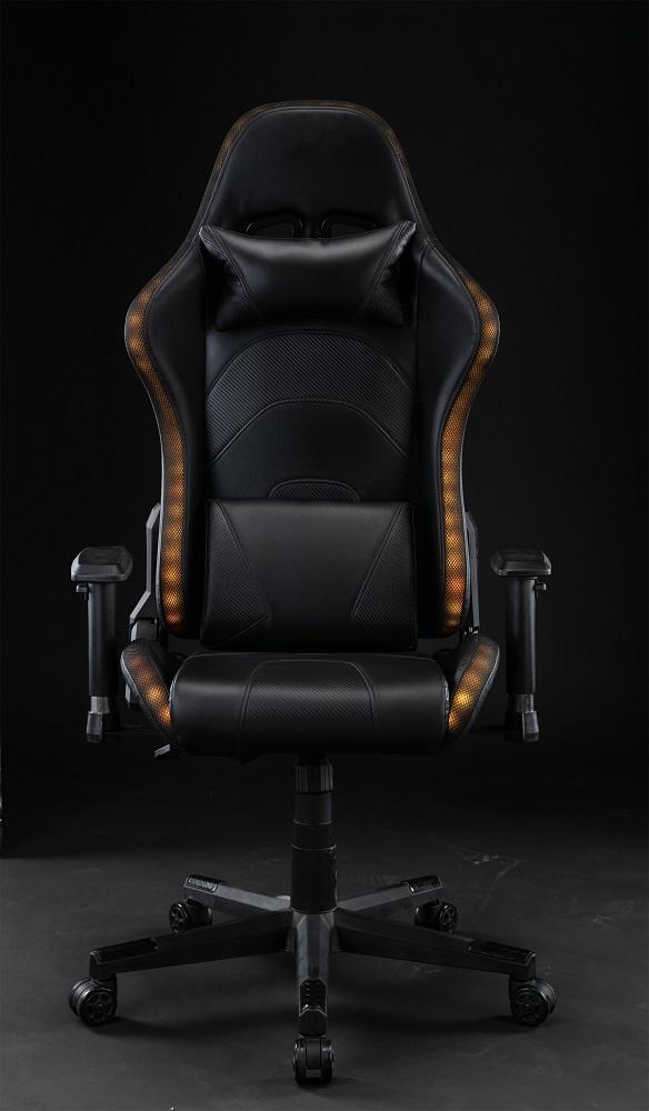 Scaun gaming cu sistem iluminare LED uri RGB, funcție șezlong, SIG 148, Negru